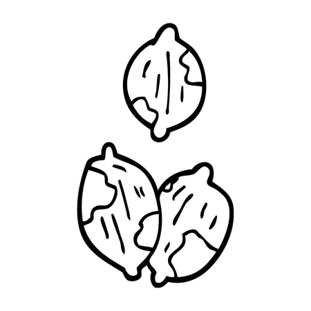 line drawing cartoon nuts in shells