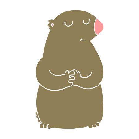 cute flat color style cartoon bear 일러스트