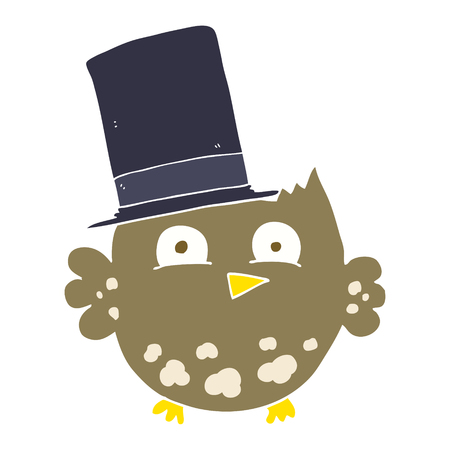 flat color illustration of little owl with top hat Illustration
