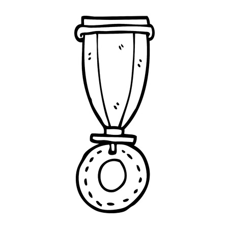 line drawing cartoon medal