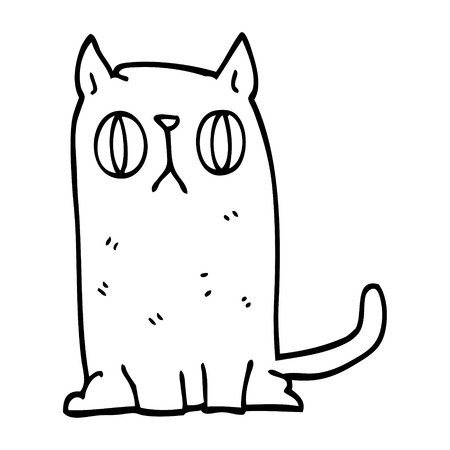 line drawing cartoon funny cat