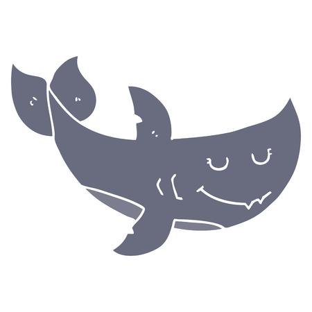 flat color style cartoon shark