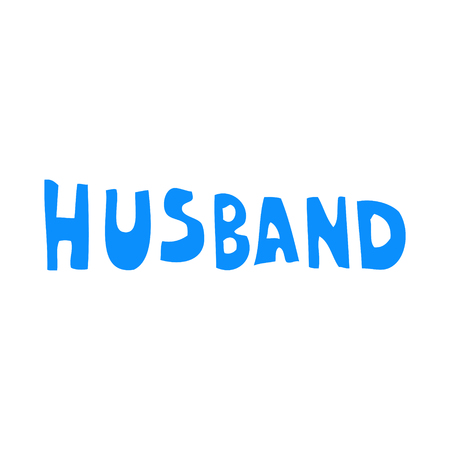 flat color style cartoon word husband