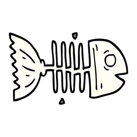 cartoon doodle fish bones Stockfoto - 110847270