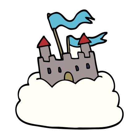cartoon doodle castle on cloud Ilustração