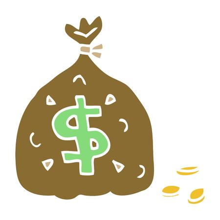 cartoon doodle bag of money 向量圖像