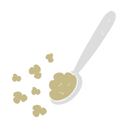 flat color illustration of spoonful of food