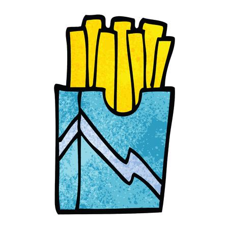 cartoon doodle fast food fries Ilustração