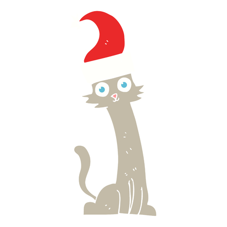 flat color illustration of cat in christmas hat