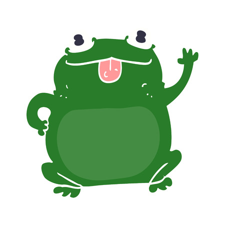 flat color style cartoon frog