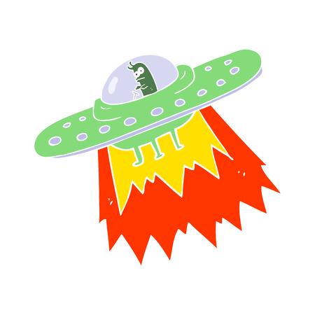 flat color illustration of ufo Illusztráció