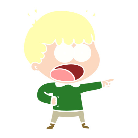 flat color style cartoon shocked man pointing