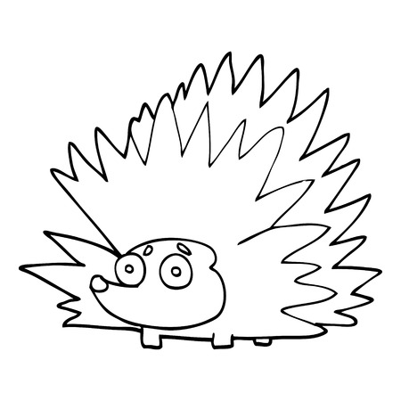 line drawing cartoon spiky hedgehog