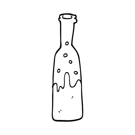 line drawing cartoon bottle of pop