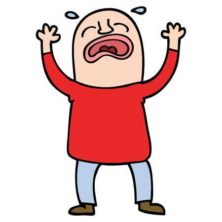 cartoon doodle huilende man
