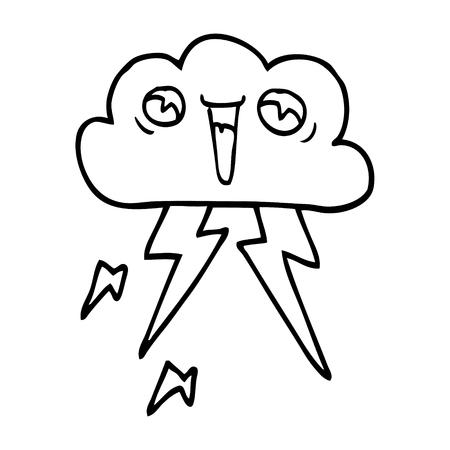 line drawing cartoon lightening cloud