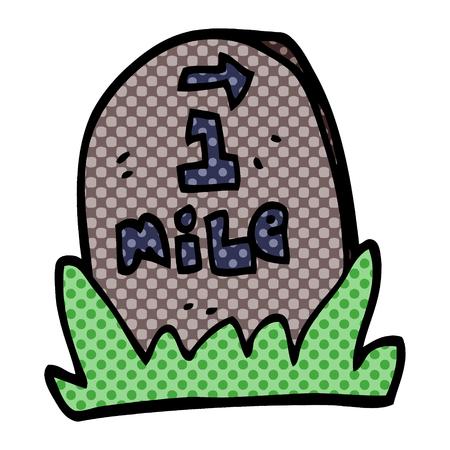 cartoon doodle mile marker