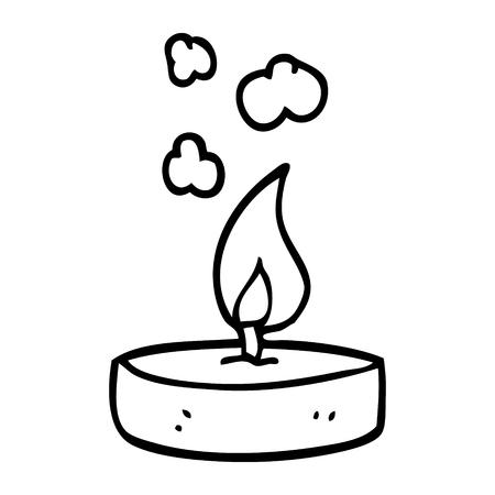 line drawing cartoon scented candle Ilustração