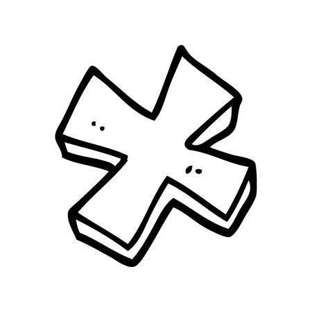 símbolo de multiplicación de dibujos animados de dibujo lineal Ilustración de vector
