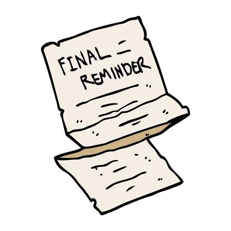 caricatura, doodle, final, recordatorio, carta