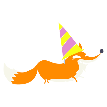 flat color style cartoon sly fox in party hat Illustration
