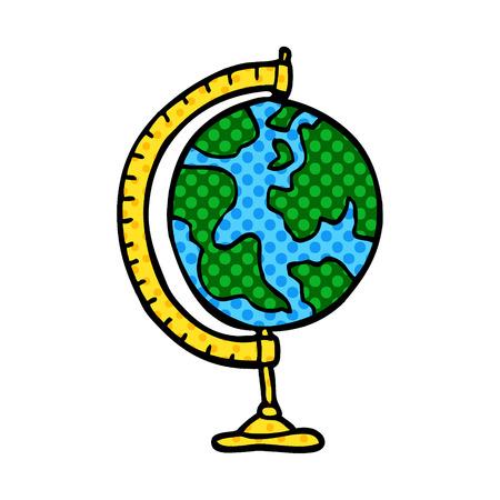 cartoon doodle globe Ilustrace
