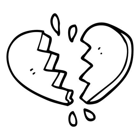 Strichzeichnung Cartoon gebrochenes Herz Vektorgrafik
