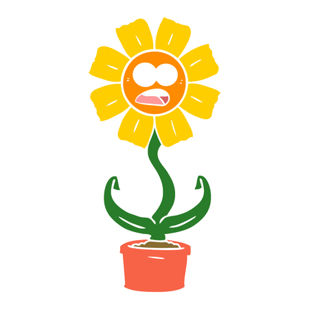 flat color style cartoon shocked flower