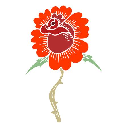 cartoon doodle rose tattoo symbol Stock Vector - 110894474