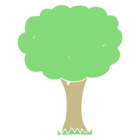 flat color style cartoon tree