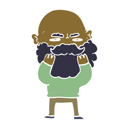 flat color style cartoon man with beard frowning checking his beard
