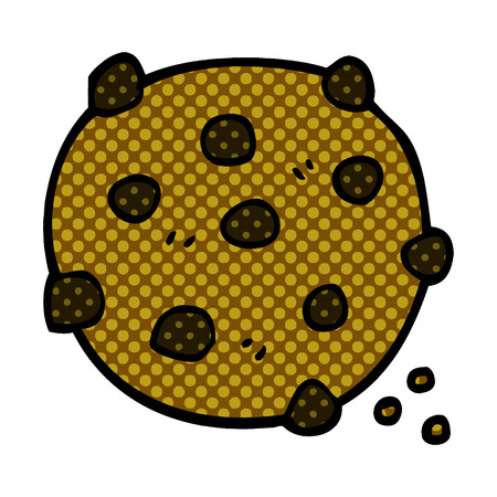 cartoon doodle chocolate chip cookie