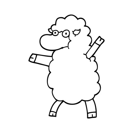 line drawing cartoon sheep standing upright Stock Illustratie