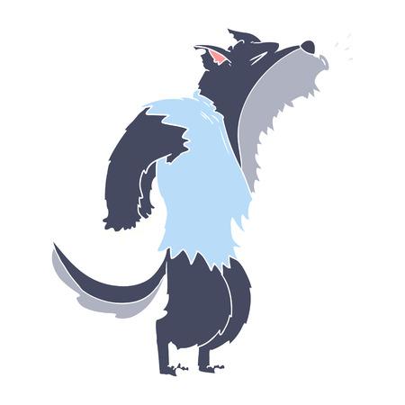 flacher Farbstil Cartoon heulender Werwolf