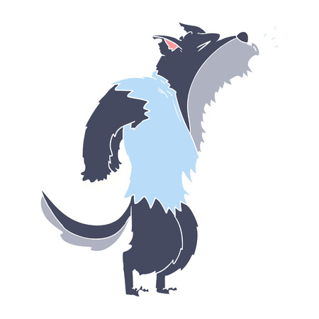 flat color style cartoon howling werewolf