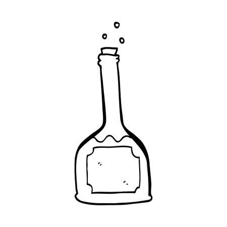 line drawing cartoon bottle of red wine Çizim