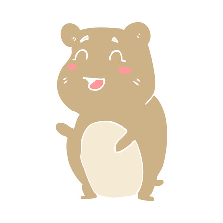 flat color illustration of cute hamster