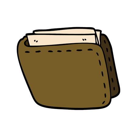 cartone animato scarabocchio vecchio portafoglio in pelle