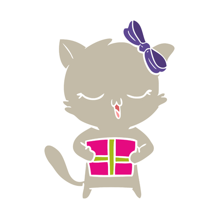 flat color style cartoon girl cat with christmas present Illustration