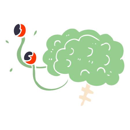 cartoon doodle monster brain  イラスト・ベクター素材