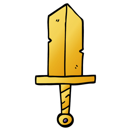 cartoon doodle golden dagger Иллюстрация