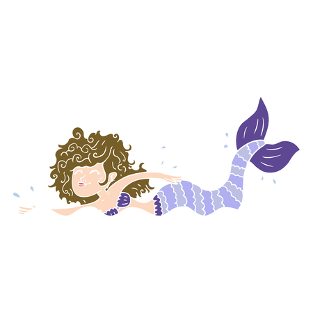 flat color style cartoon mermaid