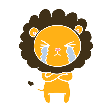 flat color style cartoon crying lion with crossed arms