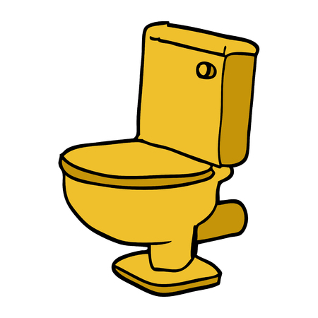 cartoon doodle golden toilet Illustration