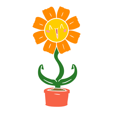 happy flat color style cartoon flower