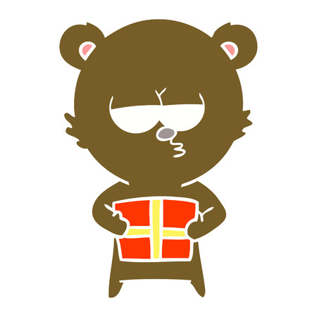 christmas bear flat color style cartoon Illustration