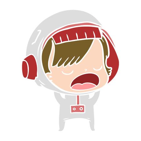 flat color style cartoon talking astronaut woman