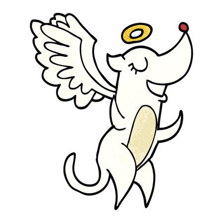 caricatura, garabato, ángel, perro