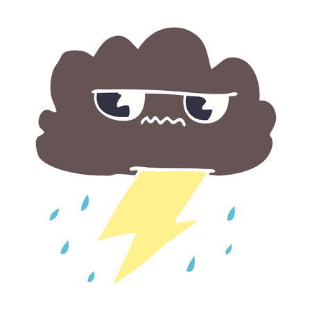 cartoon doodle thunder weather cloud