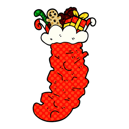 cartoon doodle christmas stocking stuffed with toys